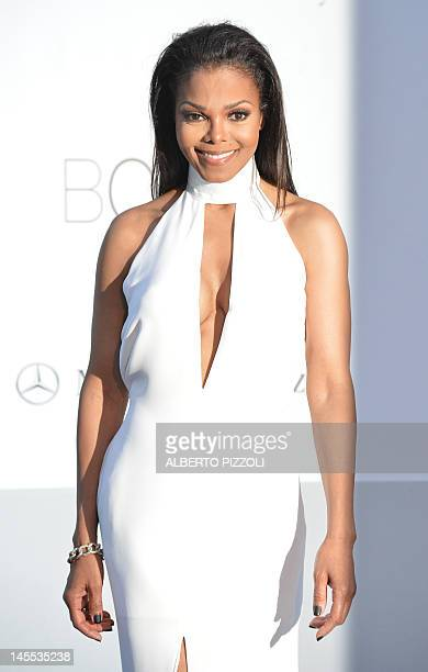 Singer Janet Jackson poses as she arrives to attend the 2012 amfAR's Cinema Against Aids on May 24, 2012 in Antibes, southeastern France. AFP PHOTO /...