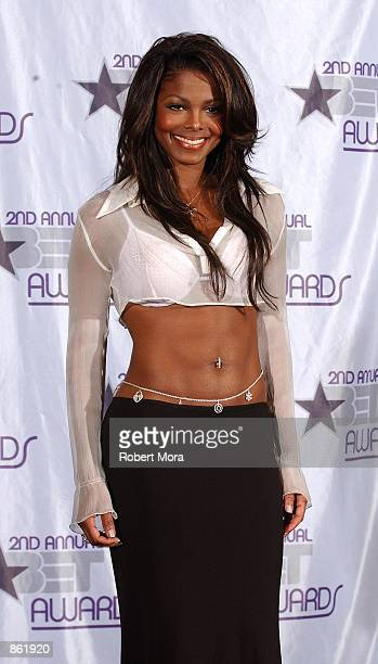 Singer Janet Jackson poses backstage during the 2nd Annual BET Awards on June 25 2002 at the Kodak Theater in Hollywood CA