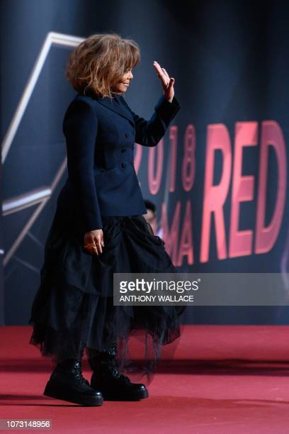 US singer Janet Jackson poses on the red carpet at the Mnet Asian Music Awards in Hong Kong on December 14 2018