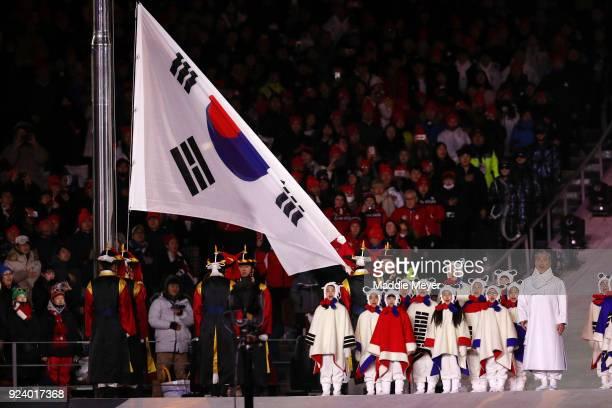 Singer Jang Sa-ik performs the Korean national anthem during the Closing Ceremony of the PyeongChang 2018 Winter Olympic Games at PyeongChang Olympic...