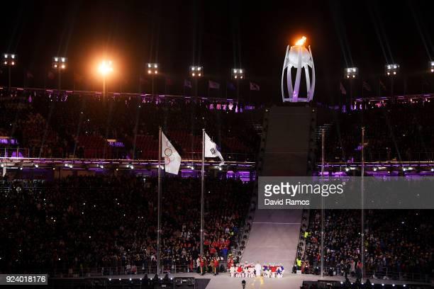Singer Jang Saik performs the Korean national anthem during the Closing Ceremony of the PyeongChang 2018 Winter Olympic Games at PyeongChang Olympic...