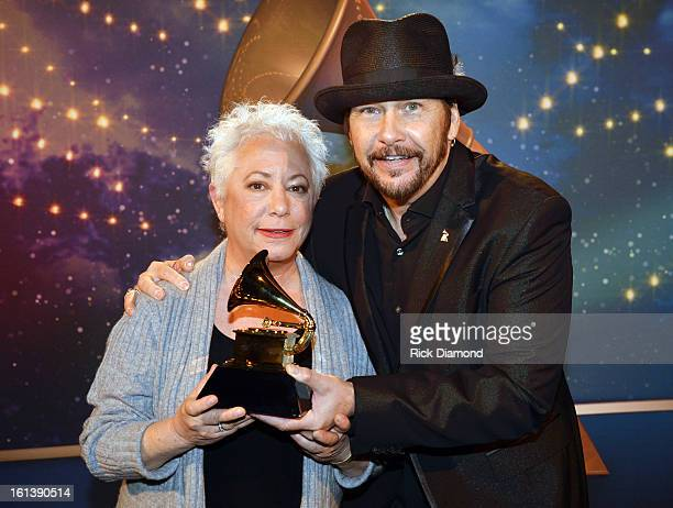 Singer Janis Ian and NARAS Board Chairman George Flanigen appear onstage during the 55th Annual GRAMMY Awards PreTelecast at Nokia Theatre LA Live on...