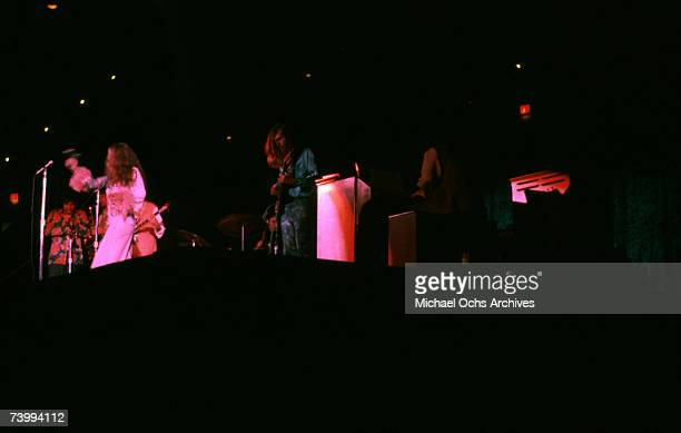 Singer Janis Joplin and Big Brother and the Holding Company perform onstage at the Fillmore East circa 1968 in New York City New York