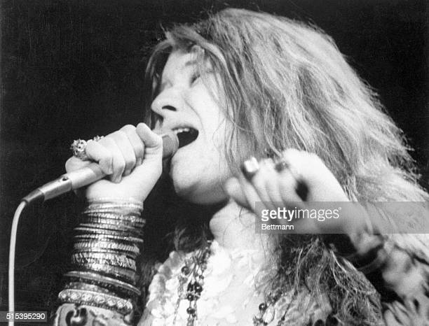 Singer Janis Joplin during her performance at Madison Square Garden