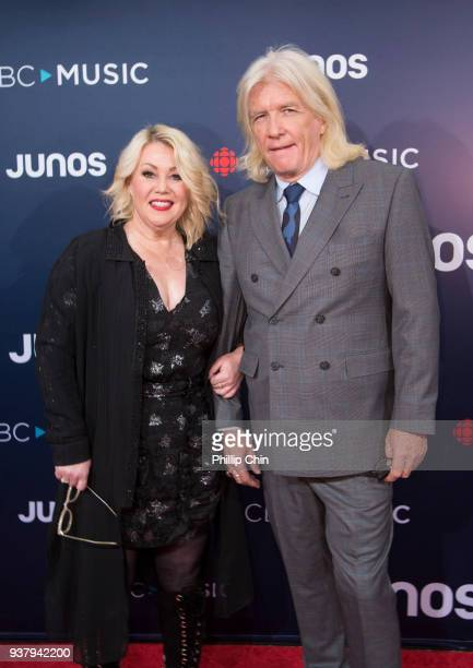 Singer Jann Arden and producer Bob Rock Janet attend the red carpet arrival at the 2018 Juno Awards at Rogers Arena on March 25 2018 in Vancouver...