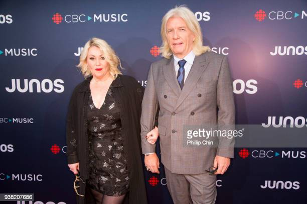 Singer Jann Arden and producer Bob Rock Janet attend the red carpet arrivals at the 2018 Juno Awards at Rogers Arena on March 25 2018 in Vancouver...