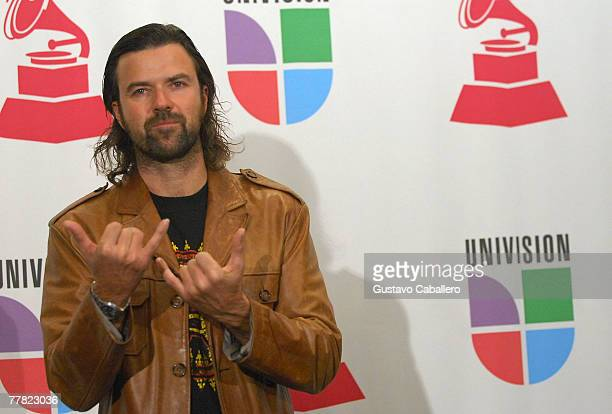 Singer Jarabe de Palo poses in the press room during the 8th annual latin GRAMMY awards held at the Mandalay Bay Events Center on November 8 2007 in...