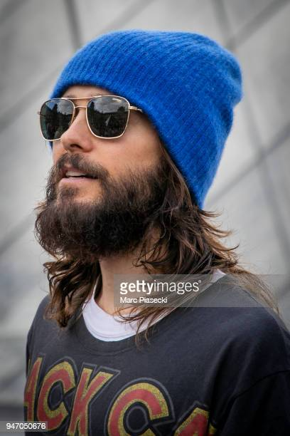 Singer Jared Leto of 30 Seconds to Mars arrives for an unexpected showcase at Louvre Courtyard on April 16 2018 in Paris France
