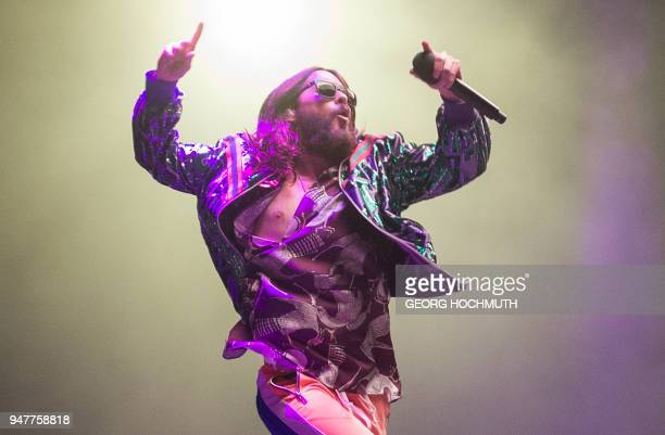 TOPSHOT US singer Jared Leto of band 'Thirty Seconds to Mars' performs onstage at the 'Stadthalle' in Vienna Austria on April 17 2018 / Austria OUT