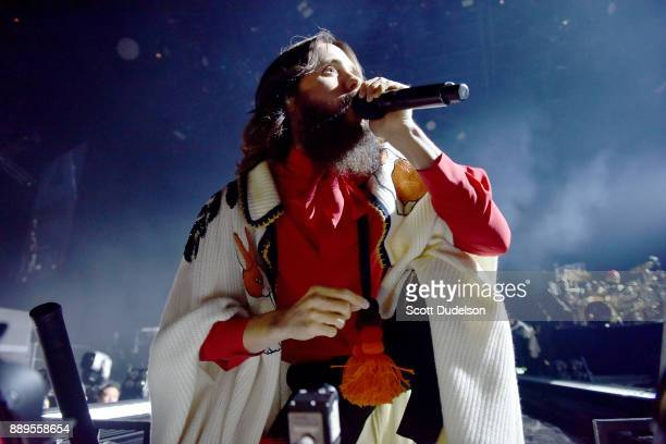 Singer Jared Leto of the band Thirty Seconds to Mars performs onstage during KROQ Almost Acoustic Christmas 2017 at The Forum on December 9 2017 in...