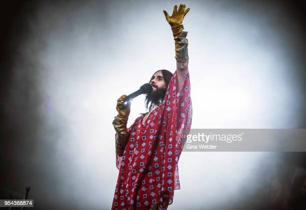 Singer Jared Leto of Thirty Seconds to Mars performs live on stage during a concert at the MercedesBenz Arena on May 5 2018 in Berlin Germany