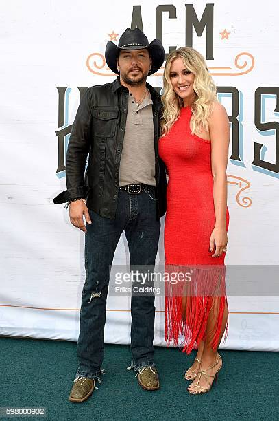 Singer Jason Aldean and Brittany Kerr attend 10th Annual ACM Honors at the Ryman Auditorium on August 30 2016 in Nashville Tennessee