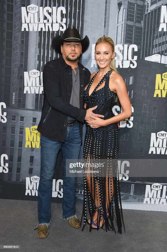 Singer Jason Aldean and Brittany Kerr attend the 2017 CMT Music Awards at the Music City Center on June 7, 2017 in Nashville, Tennessee.