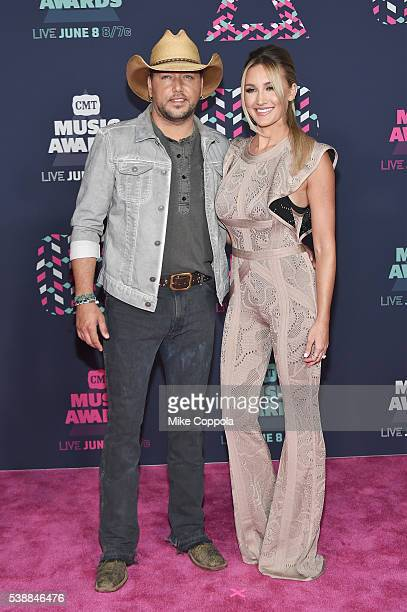 Singer Jason Aldean and Brittany Kerr attends the 2016 CMT Music awards at the Bridgestone Arena on June 8 2016 in Nashville Tennessee