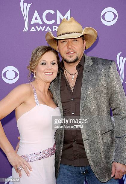 Singer Jason Aldean and Jessica Aldean arrive at the 47th Annual Academy Of Country Music Awards held at the MGM Grand Garden Arena on April 1 2012...