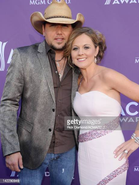 Singer Jason Aldean and Jessica Aldean arrive at the 47th Annual Academy Of Country Music Awards held at the MGM Grand Garden Arena on April 1, 2012...