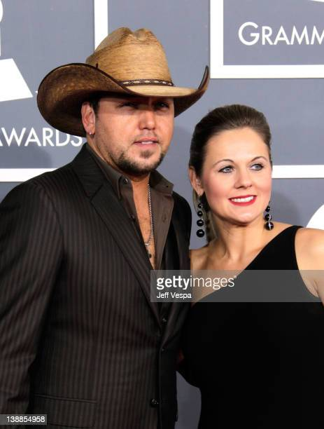 Singer Jason Aldean and Jessica Aldean arrive at The 54th Annual GRAMMY Awards at Staples Center on February 12, 2012 in Los Angeles, California.