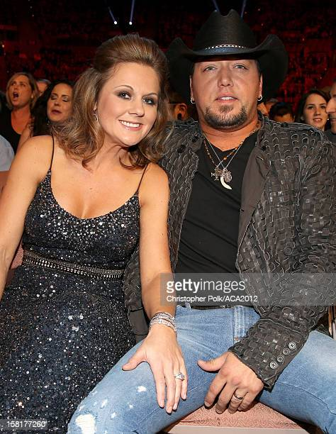 Singer Jason Aldean and Jessica Aldean attend the 2012 American Country Awards at the Mandalay Bay Events Center on December 10, 2012 in Las Vegas,...