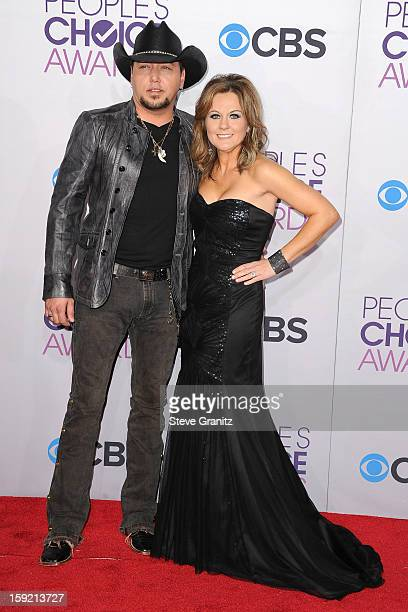 Singer Jason Aldean and Jessica Aldean attend the 2013 People's Choice Awards at Nokia Theatre L.A. Live on January 9, 2013 in Los Angeles,...