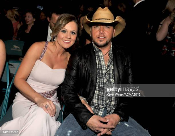 Singer Jason Aldean and Jessica Aldean attend the 47th Annual Academy Of Country Music Awards held at the MGM Grand Garden Arena on April 1 2012 in...
