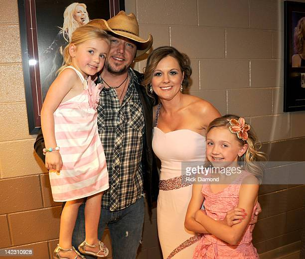 Singer Jason Aldean and Jessica Aldean attend the 47th Annual Academy Of Country Music Awards held at the MGM Grand Garden Arena on April 1, 2012 in...