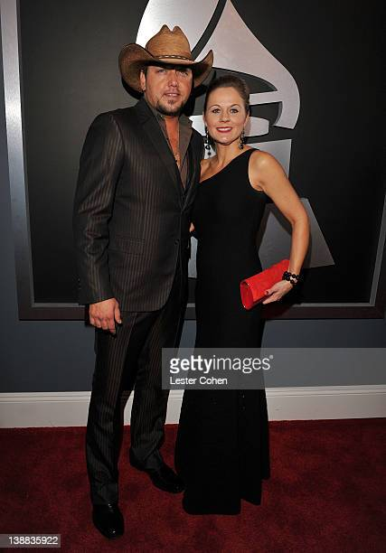 Singer Jason Aldean and wife Jessica arrive at The 54th Annual GRAMMY Awards at Staples Center on February 12, 2012 in Los Angeles, California.