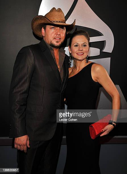 Singer Jason Aldean and wife Jessica arrives at The 54th Annual GRAMMY Awards at Staples Center on February 12, 2012 in Los Angeles, California.