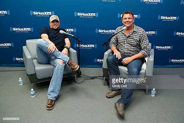 Singer Jason Aldean is interviewed by SiriusXM host Storme Warren during the Jason Aldean Album Premiere Party on SiriusXM's The Highway Channel on...