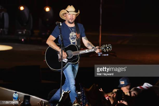 Singer Jason Aldean performs on stage during the Watershed country music festival at the Gorge Amphitheatre on August 2, 2019 in George, Washington.
