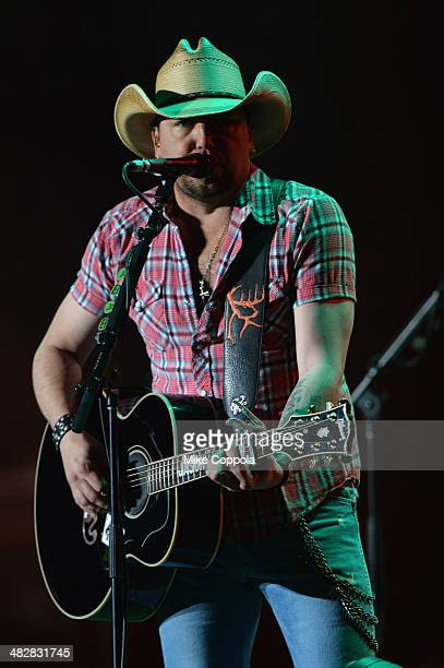 Singer Jason Aldean performs onstage at the ATT Block Party at NCAA March Madness Music Festival Day 1 at Reunion Park on April 4 2014 in Dallas Texas