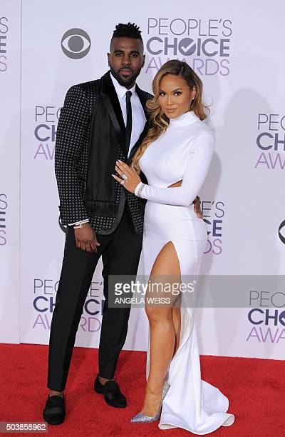Singer Jason Derulo and actress Daphne Joy arrive at the People's Choice Awards 2016 at Microsoft Theater in Los Angeles California on January 6 2016...