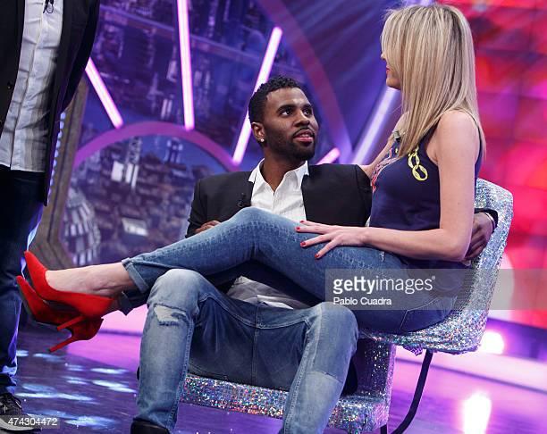 Singer Jason Derulo and Anna Simon attend 'El Hormiguero' Tv Show at Vertice Studio on May 21 2015 in Madrid Spain