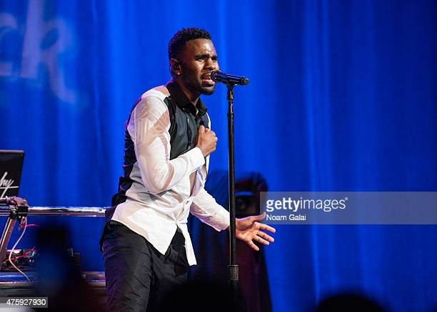 Singer Jason Derulo performs onstage in a concert celebrating the release of his new album 'Everything Is 4' at Hard Rock Cafe Times Square on June 4...