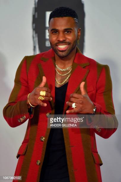 US singer Jason Derulo poses backstage during the MTV Europe Music Awards at the Bizkaia Arena in the northern Spanish city of Bilbao on November 4...