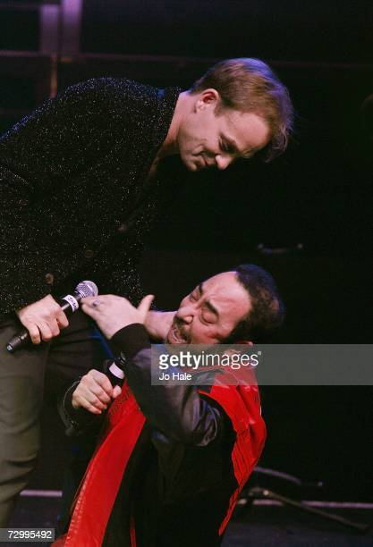 Singer Jason Donovan performs on stage with his guest Producer David Guest at GAY at the Astoria on January 13 2007 in London England