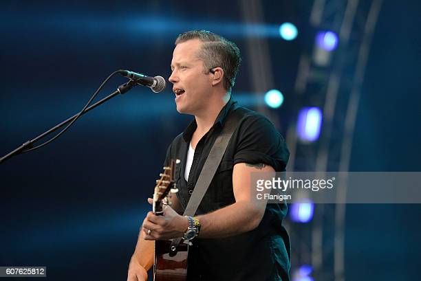 Singer Jason Isbell performs on the Trestles stage during KAABOO Del Mar at the Del Mar Fairgrounds on September 18 2016 in Del Mar California
