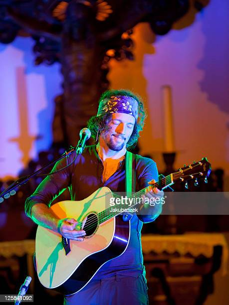 US singer Jason Mraz performs live during a concert at the Passionskirche on September 21 2011 in Berlin Germany
