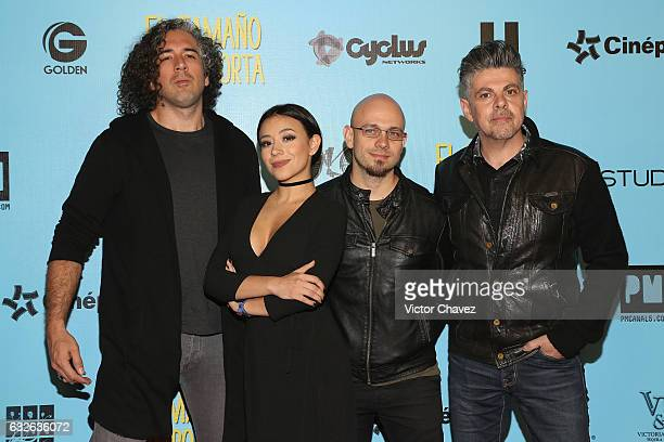 Singer Jass Reyes and members of the band Playa Limbo attend the El Tamano Si Importa Mexico City premiere red carpet at Cinepolis Oasis Coyoacan on...