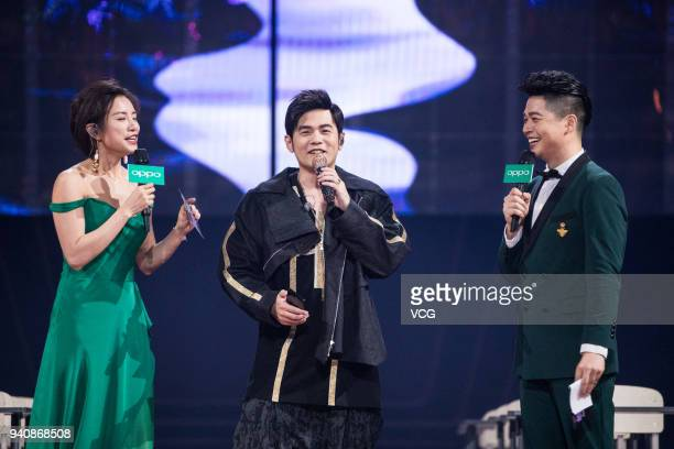 Singer Jay Chou attends a launch ceremony of OPPO R15 on March 31 2018 in Shenzhen Guangdong Province of China