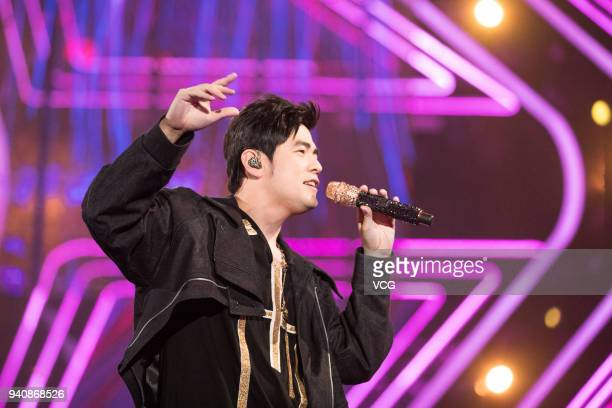 Singer Jay Chou performs during a launch ceremony of OPPO R15 on March 31 2018 in Shenzhen Guangdong Province of China