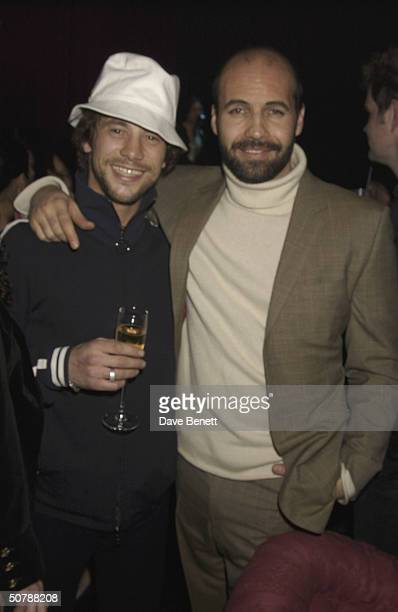 Singer Jay Kay with actor Billy Zane at his birthday party held at The Shepherds Bush Empire on 11th March 2004 in London
