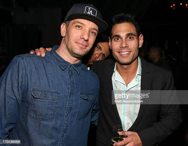 Singer JC Chasez and Eric Podwall attend Matthew Morrison's performance at The Sayers Club on June 12 2013 in Hollywood California
