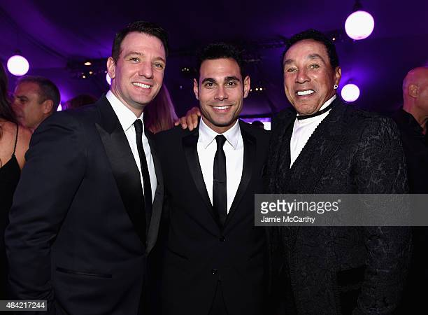 Singer JC Chasez manager Eric Podwall and singer Smokey Robinson attend the 23rd Annual Elton John AIDS Foundation Academy Awards Viewing Party on...