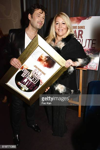 Singer Jean Pierre Danel and Loana Petrucciani attend 'Guitar Tribute' by Golden disc awarded Jean Pierre Danel at Hotel Burgundy on April 7 2015 in...