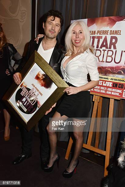 Singer Jean Pierre Danel and Veronique Koch attend 'Guitar Tribute' by Golden disc awarded Jean Pierre Danel at Hotel Burgundy on April 7 2015 in...