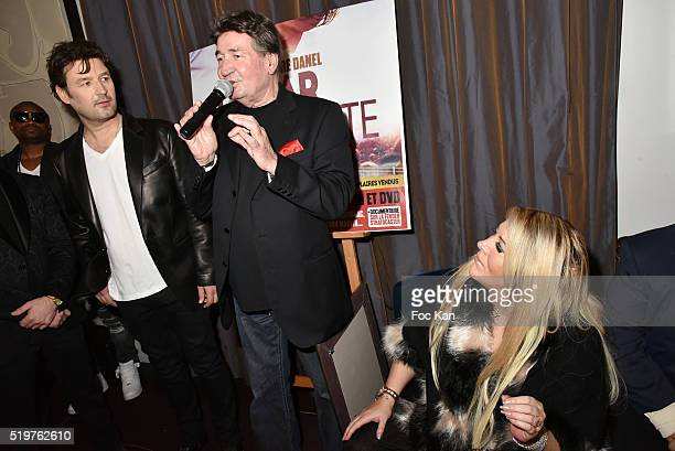 Singer Jean Pierre Danel his father singer Pascal Danel and Loana Petrucciani attend 'Guitar Tribute' by Golden disc awarded Jean Pierre Danel at...