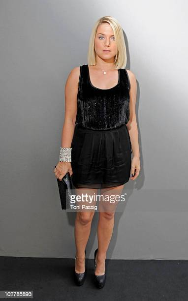 Singer Jeanette Biedermann attends the Klilan Kerner Show during the Mercedes Benz Fashion Week Spring/Summer 2011 at Bebelplatz on July 8 2010 in...