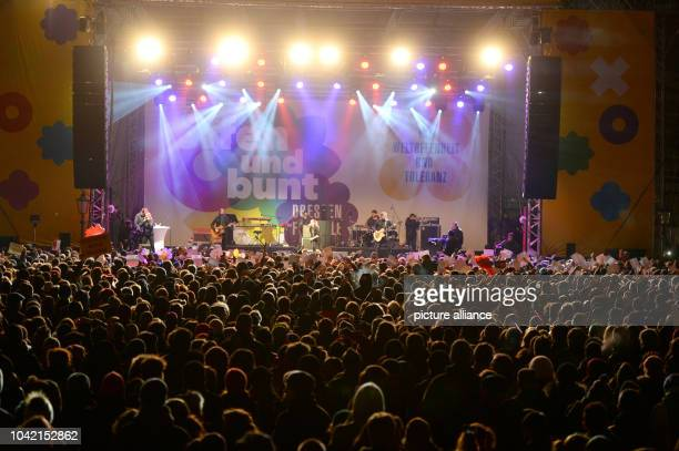 Singer Jeanette Biedermann is on stage during a concert for cosmopolitanism and tolerance at the Neumarkt in DresdenGermany 26 January 2015 The city...