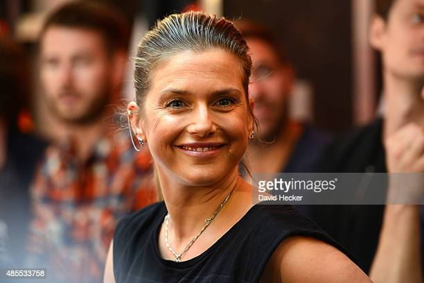 Singer Jeanette Biedermann poses on the Bundesvision Song Contest 2015 press conference at OVB-Arena on August 28, 2015 in Bremen, Germany.