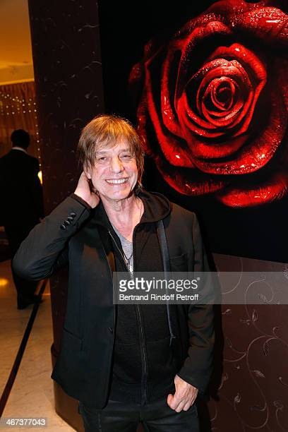 Singer JeanLouis Aubert attends his son Arthur Aubert Exhibition private view Held at Le Fouquet's Barriere Hotel on February 6 2014 in Paris France